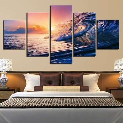 Sunset Sea Waves Seascape - 5 Panel Canvas Print Wall Art Set