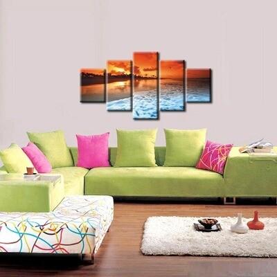 Sunset Tropical Beach Ocean Sea Waves - 5 Panel Canvas Print Wall Art Set