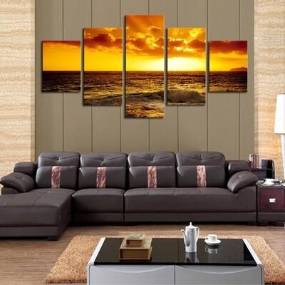 The Setting Sun Ocean Seascape - 5 Panel Canvas Print Wall Art Set