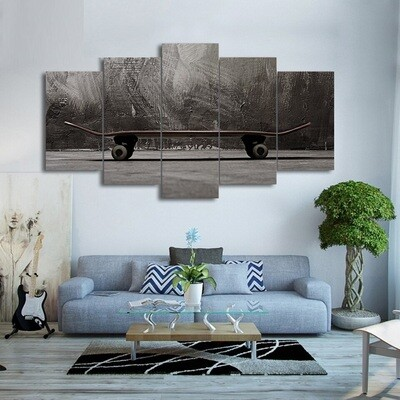 Black And White Skateboard - 5 Panel Canvas Print Wall Art Set