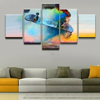 Color Skateboard - 5 Panel Canvas Print Wall Art Set