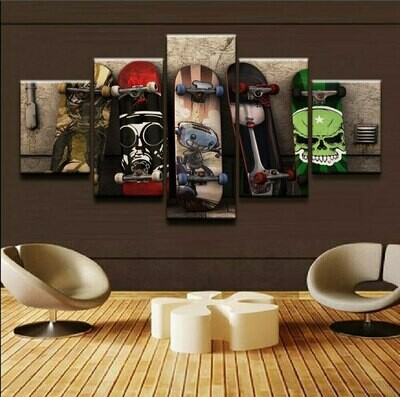Graffiti Skateboard - 5 Panel Canvas Print Wall Art Set