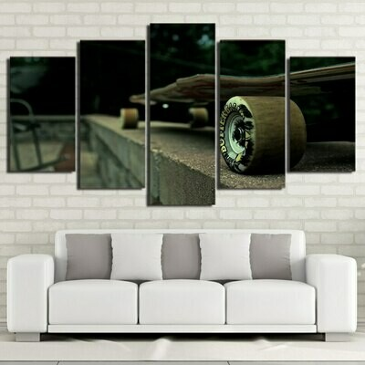Long Skateboard - 5 Panel Canvas Print Wall Art Set