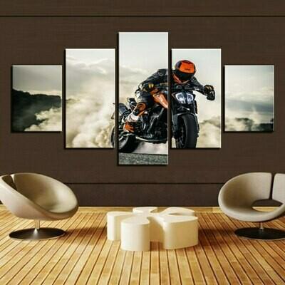 Motorcycle Cross Running - 5 Panel Canvas Print Wall Art Set