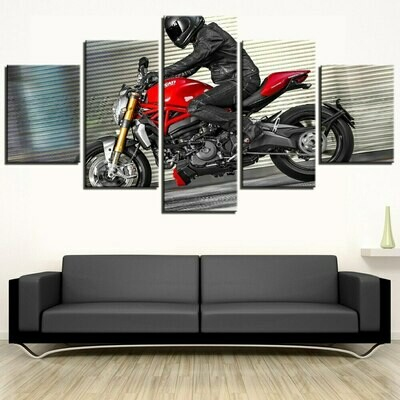 Motorcycle Cross Running Abstract - 5 Panel Canvas Print Wall Art Set
