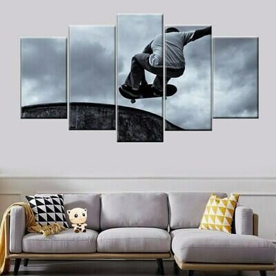Skateboard Black Classical - 5 Panel Canvas Print Wall Art Set