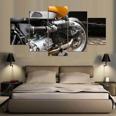 Motorcycle Engine - 5 Panel Canvas Print Wall Art Set