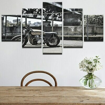 Motorcycle In The Morning - 5 Panel Canvas Print Wall Art Set