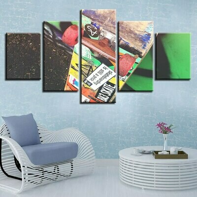 Color Sport Skateboard - 5 Panel Canvas Print Wall Art Set