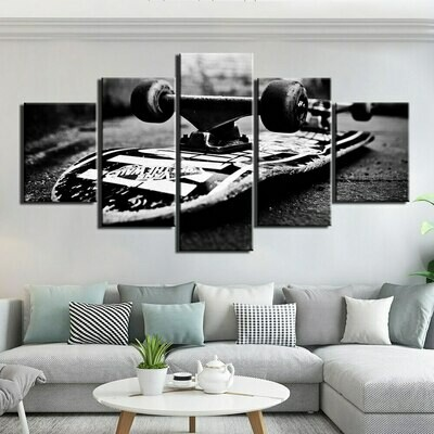 Skateboard Overturn - 5 Panel Canvas Print Wall Art Set