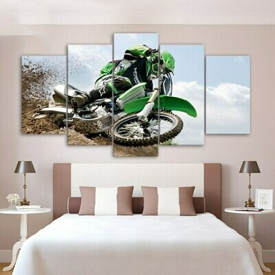 Motorcycle In Dirt - 5 Panel Canvas Print Wall Art Set