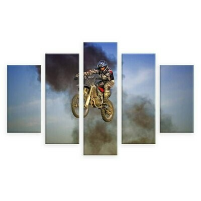 Motorcycle In The Air - 5 Panel Canvas Print Wall Art Set