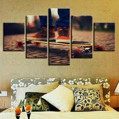 Skateboard Sport Hd - 5 Panel Canvas Print Wall Art Set