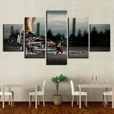 Skateboard Sports - 5 Panel Canvas Print Wall Art Set