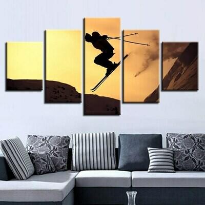 Skateboard Sports Snow - 5 Panel Canvas Print Wall Art Set