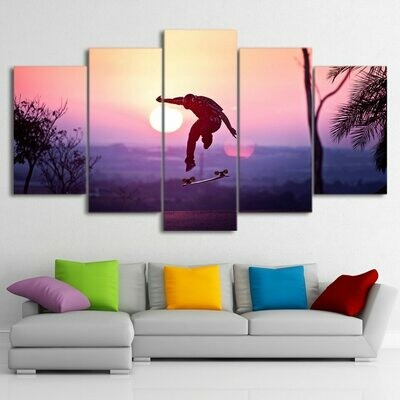 Skateboard Sunset - 5 Panel Canvas Print Wall Art Set