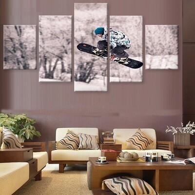 Skateboarding Boy - 5 Panel Canvas Print Wall Art Set