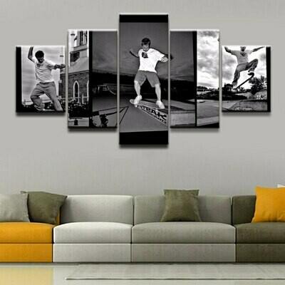 Skateboarding Skill - 5 Panel Canvas Print Wall Art Set