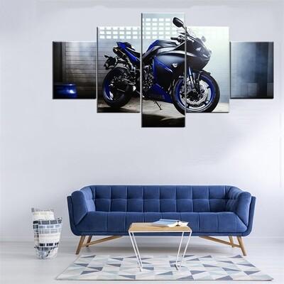 Motorcycle Modern - 5 Panel Canvas Print Wall Art Set