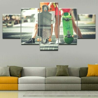 Skateboard Sports Modern - 5 Panel Canvas Print Wall Art Set