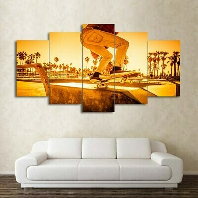 Skateboard Sunset Street - 5 Panel Canvas Print Wall Art Set
