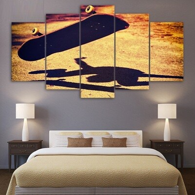 Skateboard Vintage - 5 Panel Canvas Print Wall Art Set