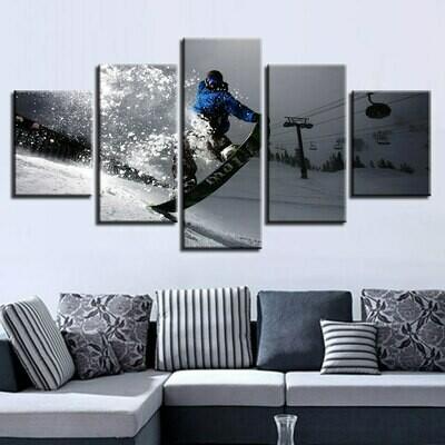 Snow Skateboard - 5 Panel Canvas Print Wall Art Set