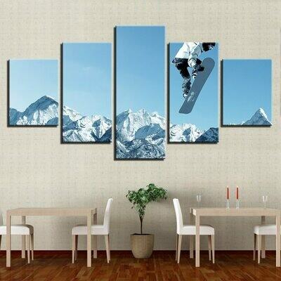 Skateboard Snow Mountain - 5 Panel Canvas Print Wall Art Set