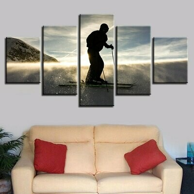 Skateboarding Sunset Scenery - 5 Panel Canvas Print Wall Art Set