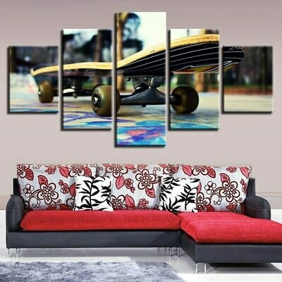 Yellow Skateboard - 5 Panel Canvas Print Wall Art Set
