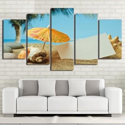 Beach Shell - 5 Panel Canvas Print Wall Art Set