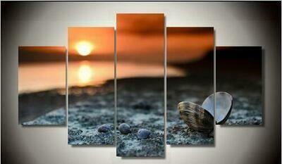 Beach Shell Painting - 5 Panel Canvas Print Wall Art Set