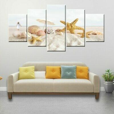 Beach Shell Starfish Sand - 5 Panel Canvas Print Wall Art Set