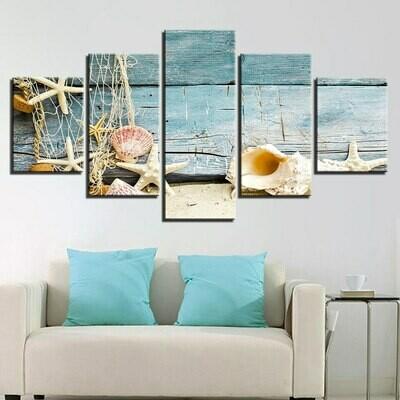 Beach Shell Starfish Wood - 5 Panel Canvas Print Wall Art Set