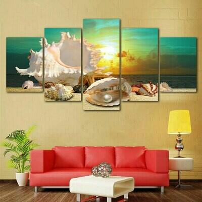 Blue Beach Sea Scenes - 5 Panel Canvas Print Wall Art Set