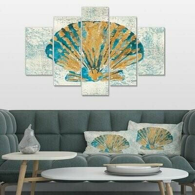 Coastal Seashell - 5 Panel Canvas Print Wall Art Set