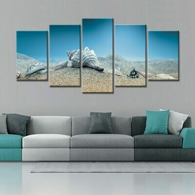 Colorful Conch Shell - 5 Panel Canvas Print Wall Art Set