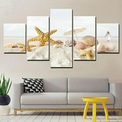 Beach Sand Shells - 5 Panel Canvas Print Wall Art Set