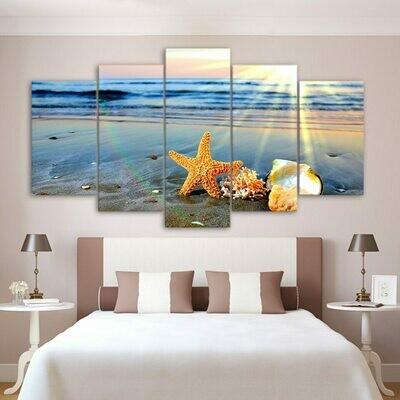 Beach Sights Sea Wave Shells - 5 Panel Canvas Print Wall Art Set