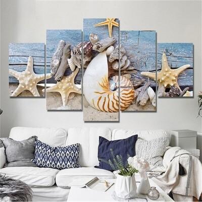 Blue Beach Seascapes - 5 Panel Canvas Print Wall Art Set