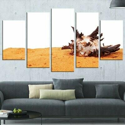 Large Sea Shells On Sand - 5 Panel Canvas Print Wall Art Set