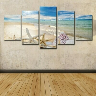 Ocean Shell Beach - 5 Panel Canvas Print Wall Art Set
