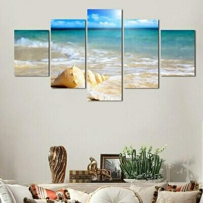 Sea Wave Shell - 5 Panel Canvas Print Wall Art Set