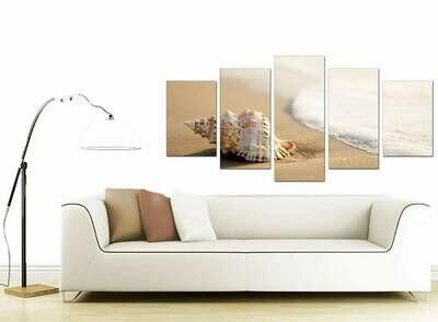 Seashell By The Sea - 5 Panel Canvas Print Wall Art Set