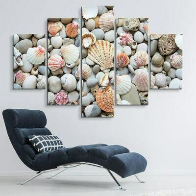 Seashells By The Seashore - 5 Panel Canvas Print Wall Art Set