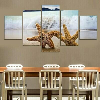 Starfish - 5 Panel Canvas Print Wall Art Set