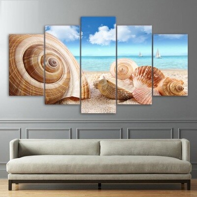 Beach Sea Shells Conch - 5 Panel Canvas Print Wall Art Set