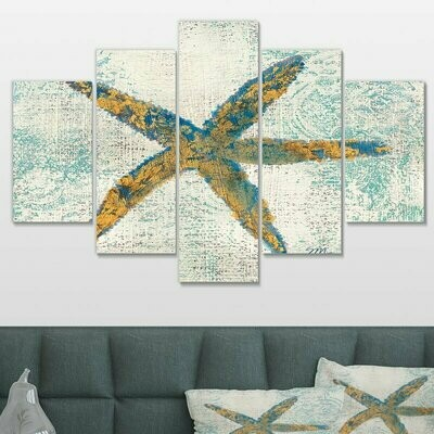 Coastal Pastel Seashell - 5 Panel Canvas Print Wall Art Set