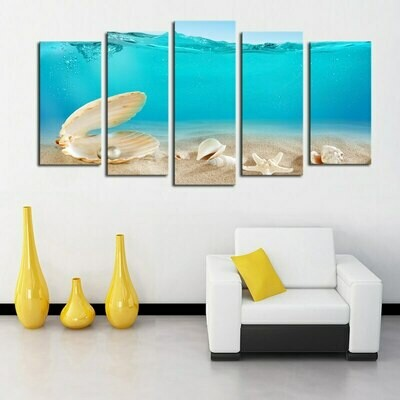 Pearl Shells Seascape - 5 Panel Canvas Print Wall Art Set
