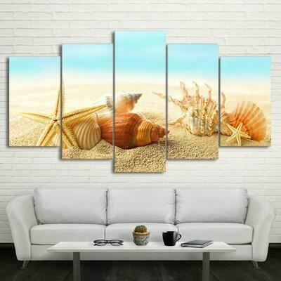 Sea Shells - 5 Panel Canvas Print Wall Art Set